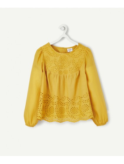 TAO BLOUSE JAUNE AUX BRODERIES ANGLAISES