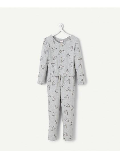 tao combinaison de pyjama grise imprimée de licornes