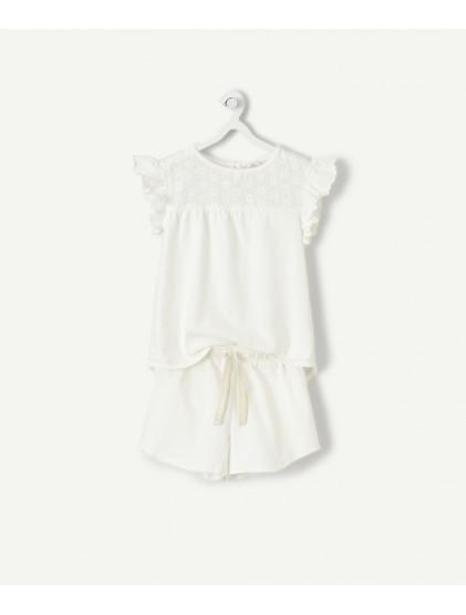 tao pyjama short blanc brodé