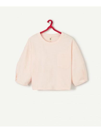 tao t-shirt rose à manches bouffantes