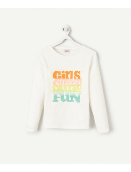 tao t-shirt blanc en coton avec animation multicolore