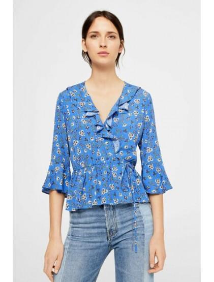 mango Chemisier fleuri à froufrous bleu Klein pour femmes
