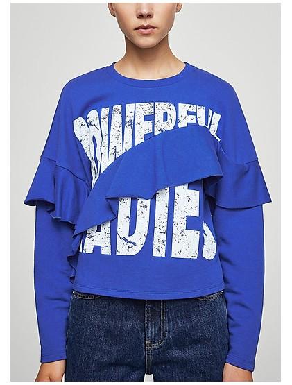 Sweat-shirt à volants et slogan