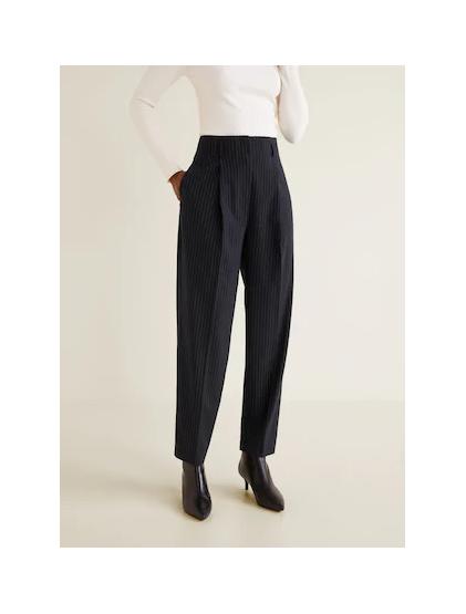 mango Pantalon de costume fines rayures