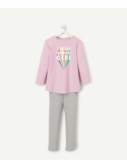 tao pyjama en coton rose et gris