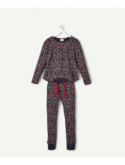 tao pyjama 2 pièces bleu marine fleuri