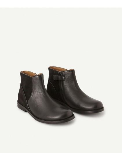 tao boots en cuir bi-matières noires